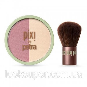 Дуэт румян и хайлайтеров + кабуки Pixi Beauty Blush Duo + Kabuki. GOLD