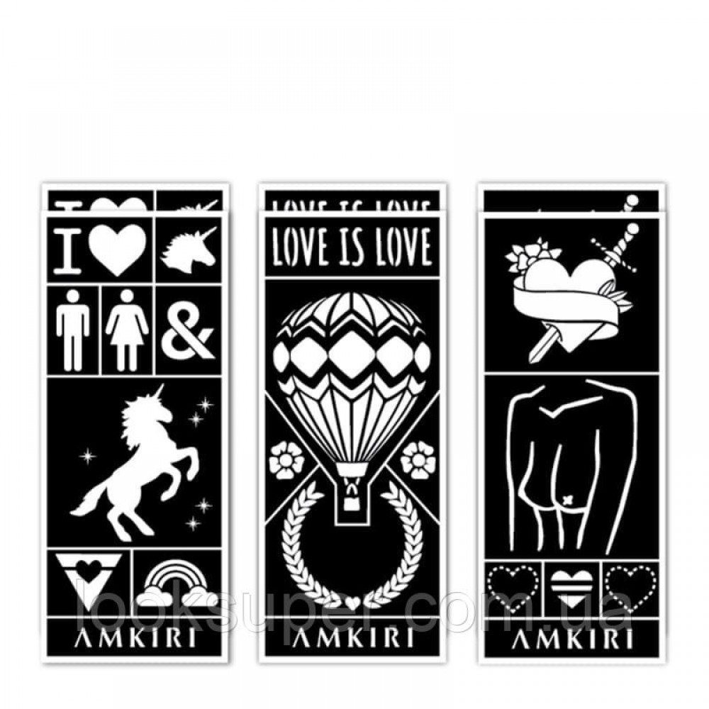 Коллекция трафаретов Amkiri 12 Sheets Stencil Set - Love is Love